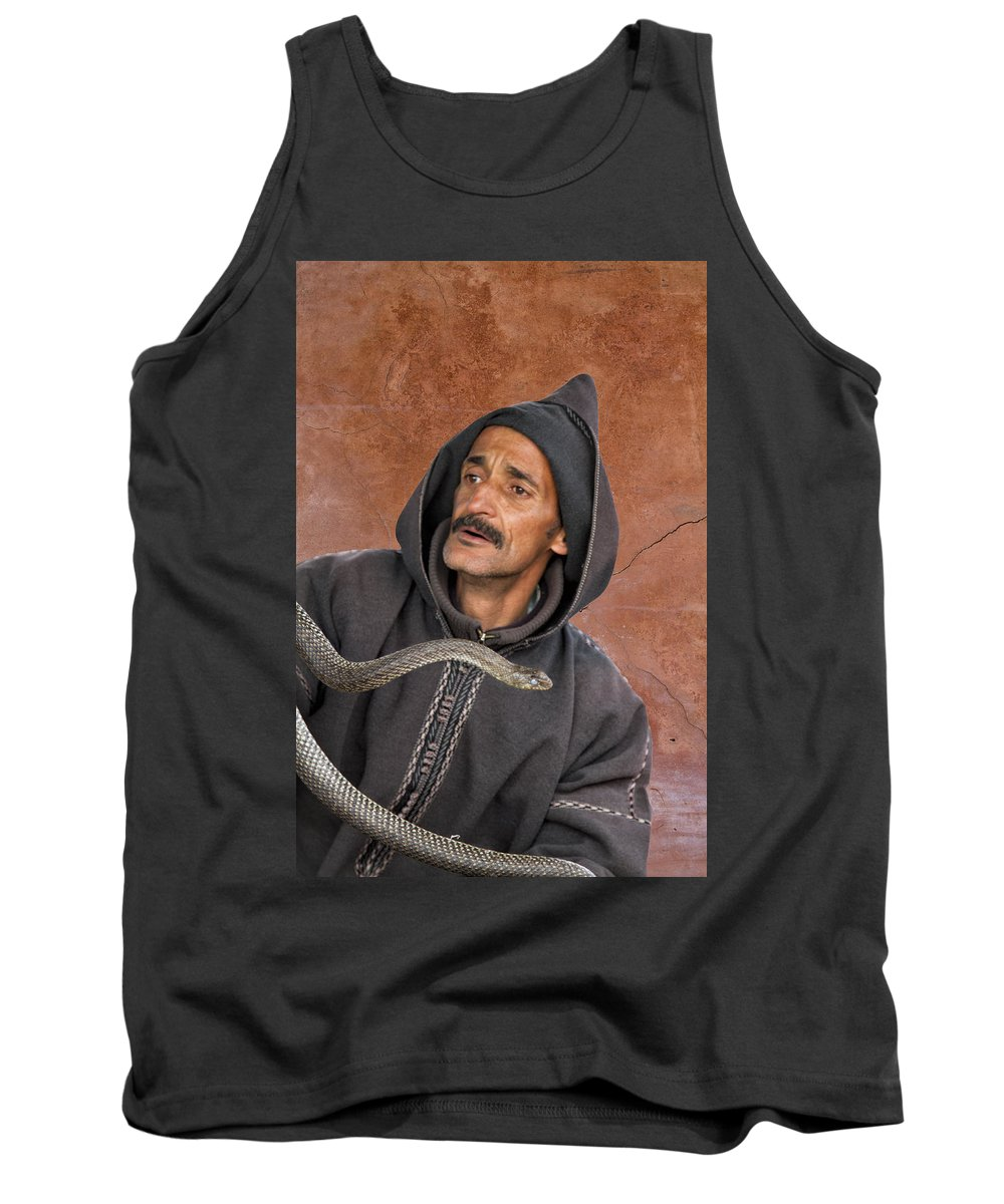 Morocco Tank Top featuring the photograph Marrakech Snake Charmer by Lindley Johnson