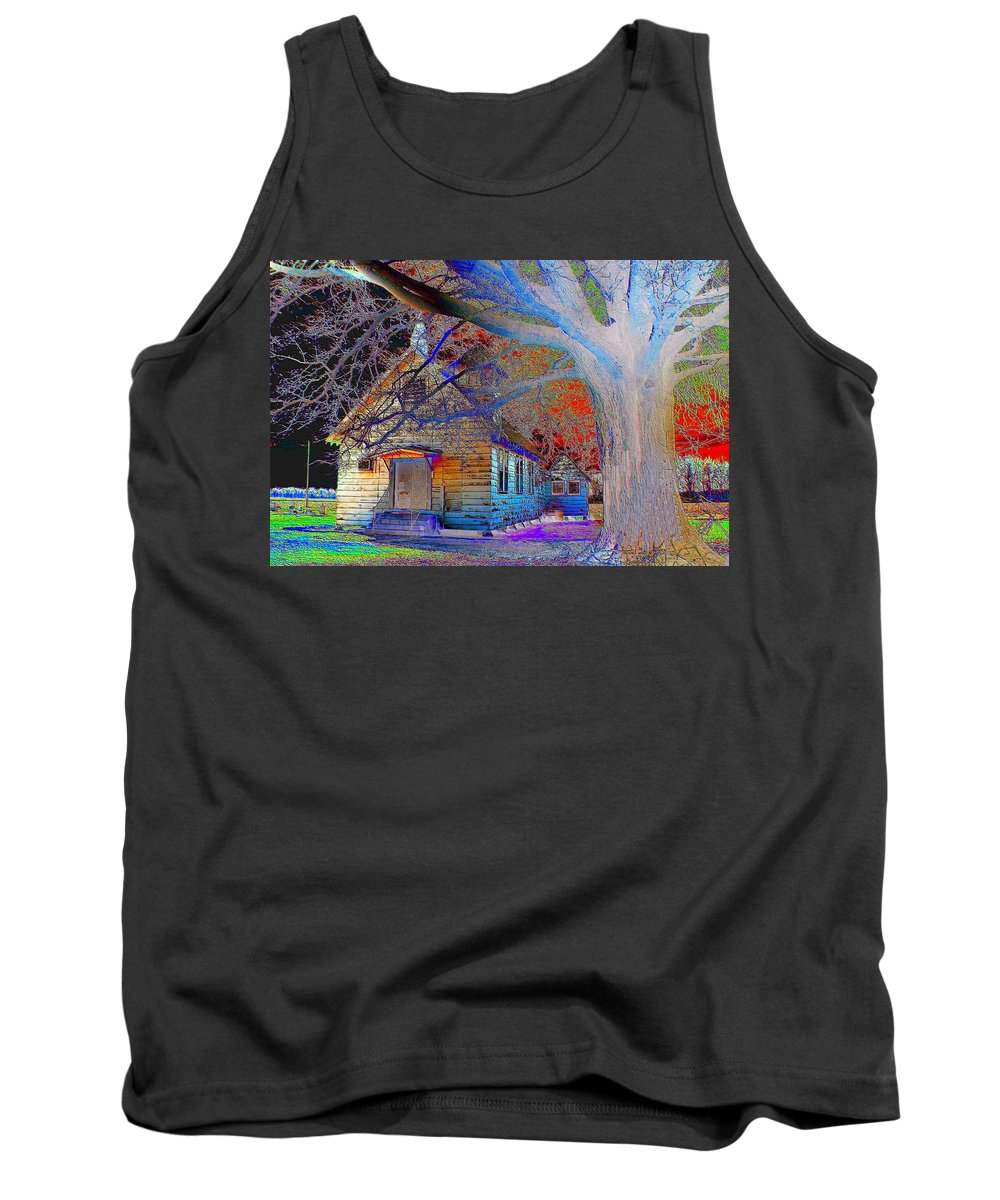 Color Tank Top featuring the photograph Marsh Berea Mb Church In Color by Karen Wagner