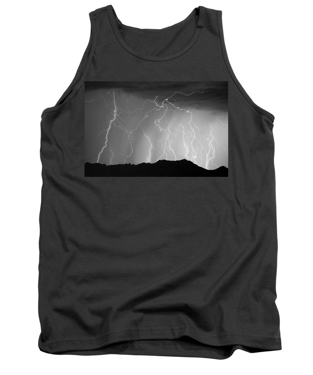 Lightning Tank Top featuring the photograph Massive Monsoon Lightning Storm Bw by James BO Insogna