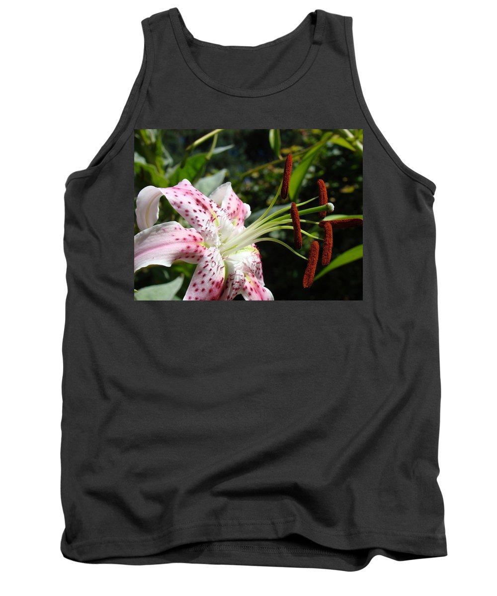 Lilies Tank Top featuring the photograph Master Gardeners Art Floral Pink Lily Flower Baslee Troutman by Baslee Troutman