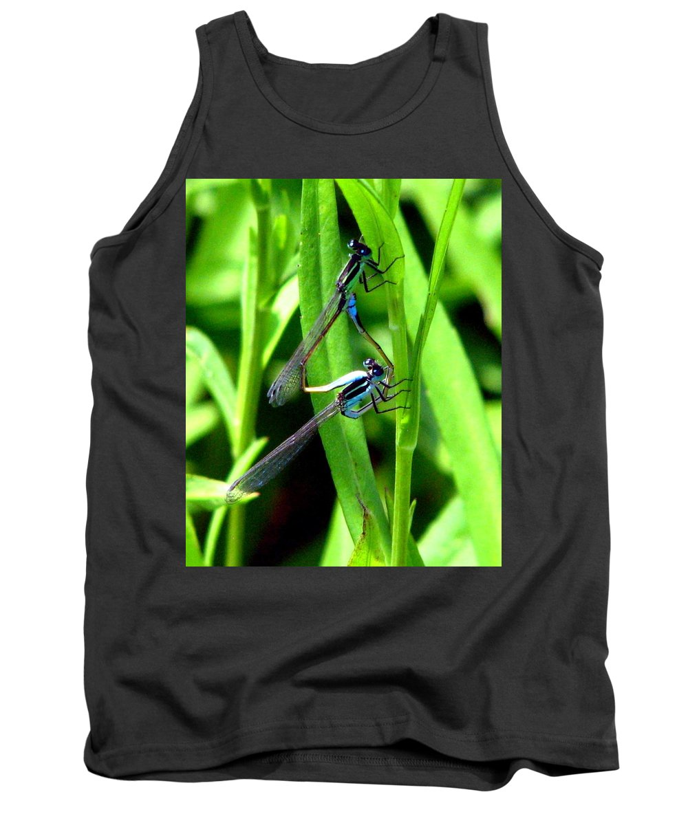 Mating Damselflies Tank Top featuring the photograph Mating Damselflies by J M Farris Photography