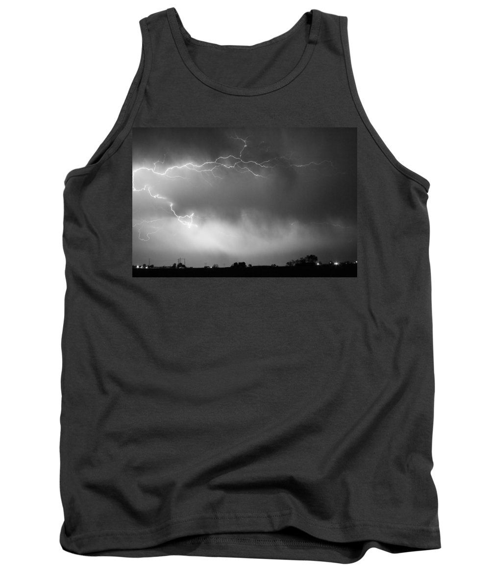 Bo Insogna Tank Top featuring the photograph May Showers 2 In Bw - Lightning Thunderstorm 5-10-2011 Boulder C by James BO Insogna