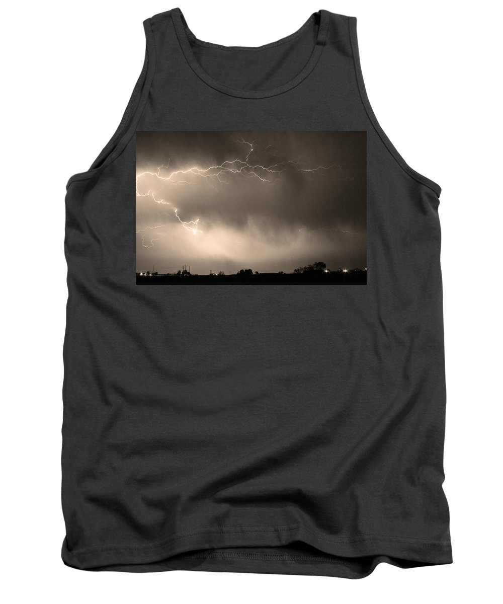 Bo Insogna Tank Top featuring the photograph May Showers 2 In Sepia - Lightning Thunderstorm 5-10-2011  by James BO Insogna