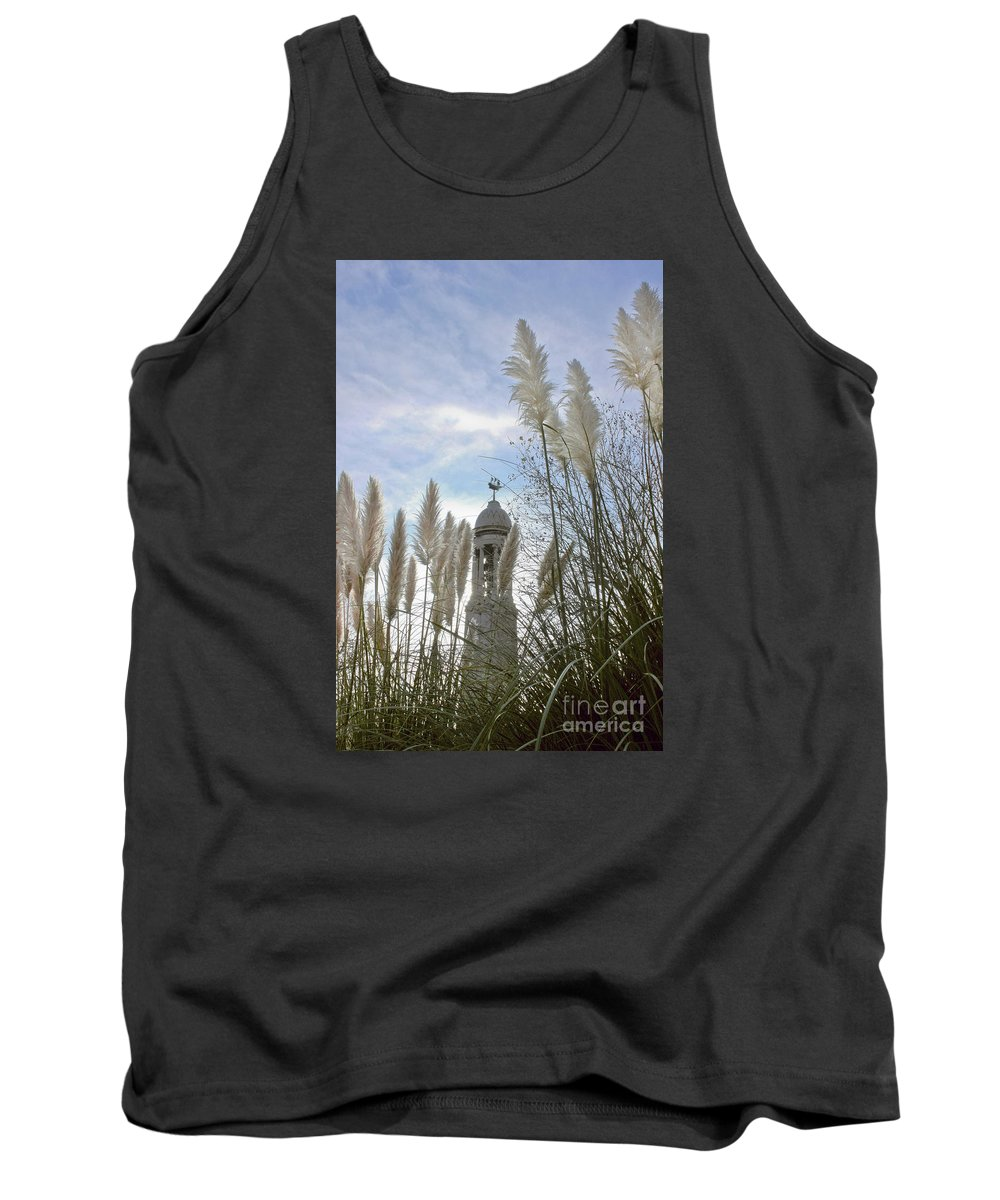 Pilgrim Fathers Monument Tank Top featuring the photograph Mayflower Memorial Through The Pampas Grass by Terri Waters