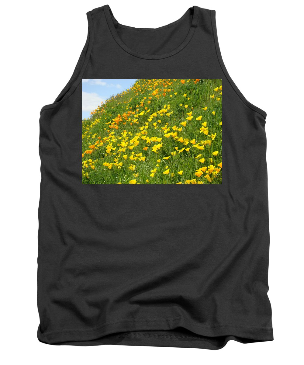 �poppies Artwork� Tank Top featuring the photograph Meadow Hillside Poppy Flowers 8 Poppies Artwork Gifts by Baslee Troutman