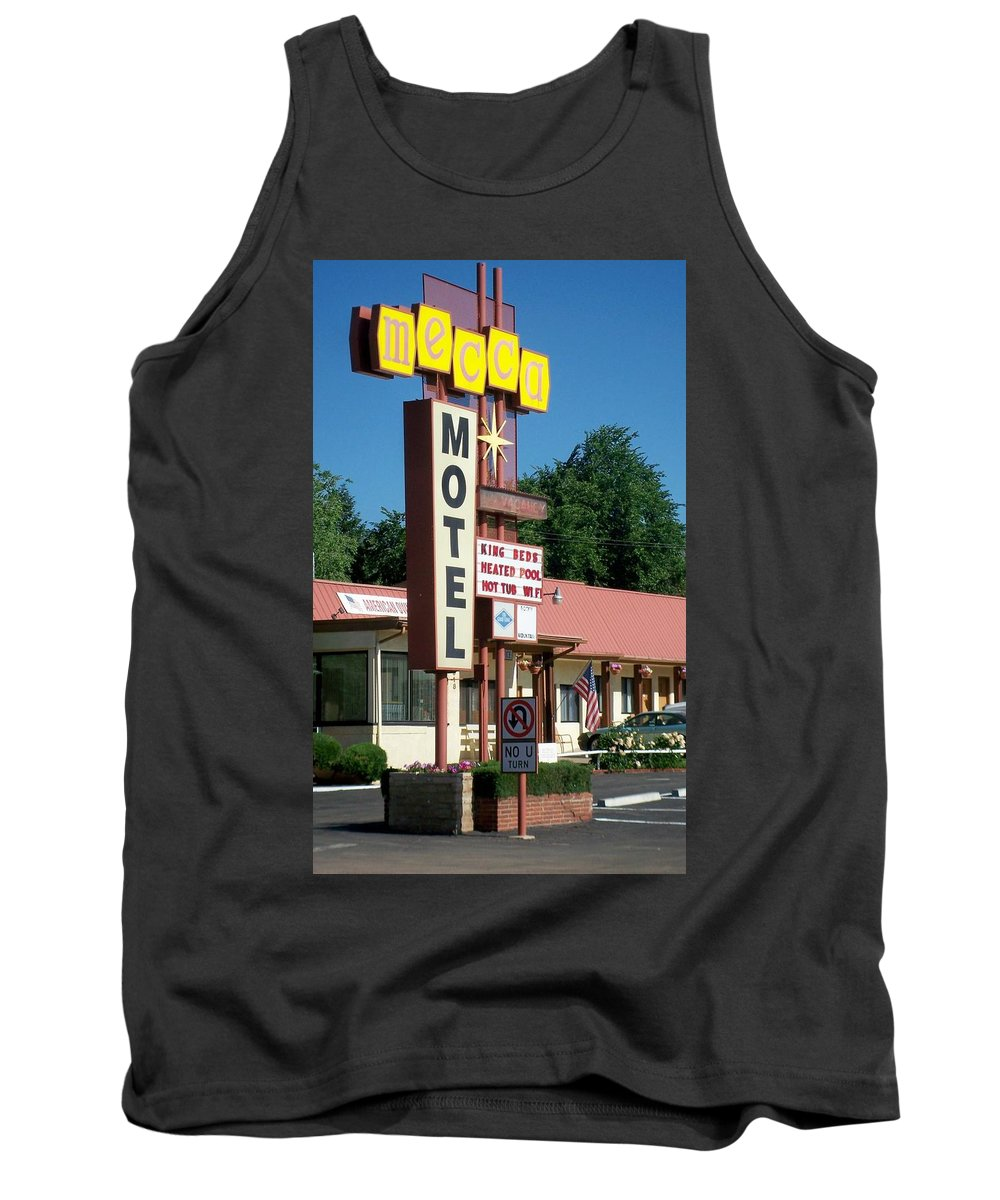 Vintage Motel Signs Tank Top featuring the photograph Mecca Motel by Anita Burgermeister