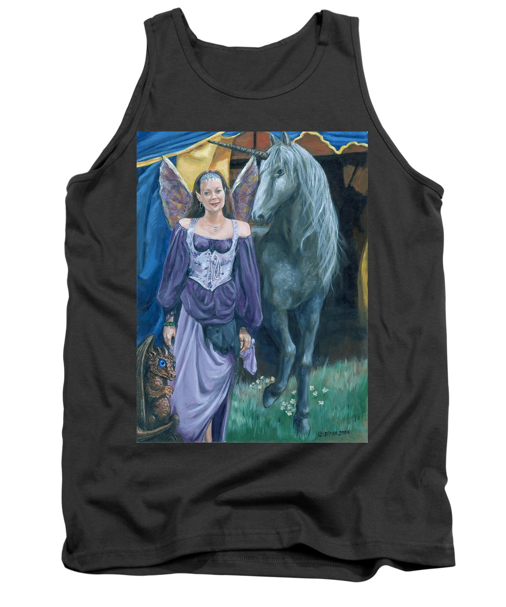 Fairy Faerie Unicorn Dragon Renaissance Festival Tank Top featuring the painting Medieval Fantasy by Bryan Bustard