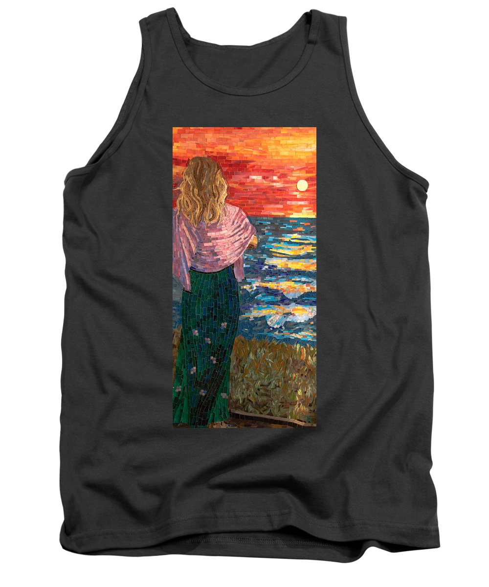 Mosaic Tank Top featuring the mixed media Mediterranean Sunset by Adriana Zoon