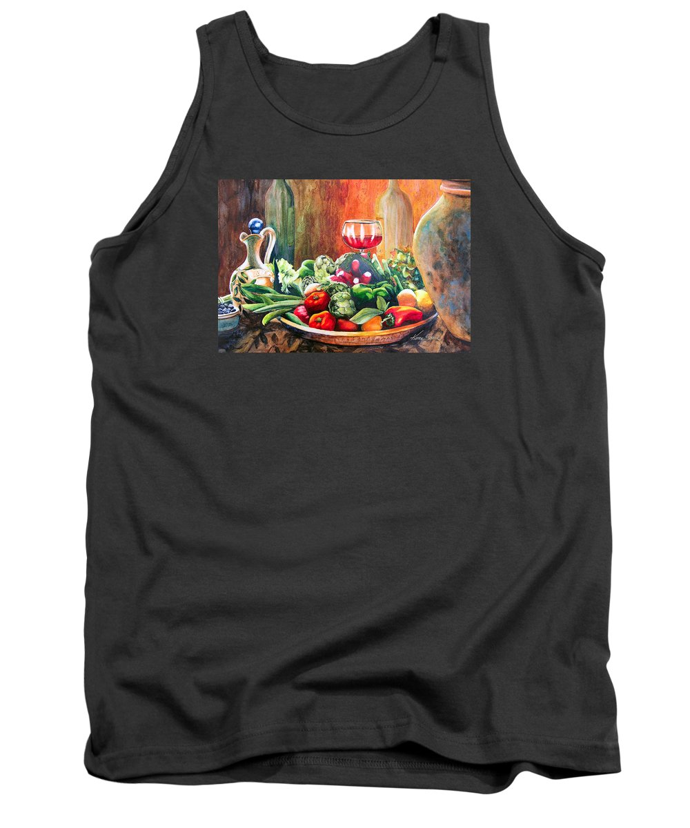 Still Life Tank Top featuring the painting Mediterranean Table by Karen Stark