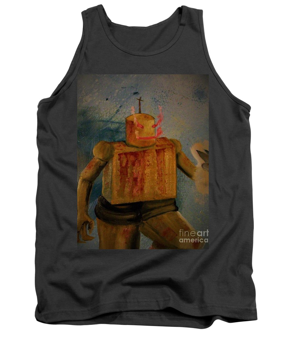 Tank Top featuring the painting Menace From Yesterday's Future by Dell Justice