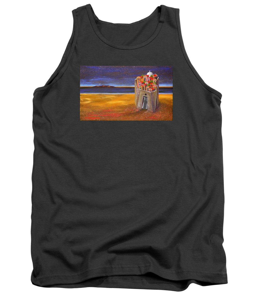 Superrealism Tank Top featuring the painting Mesi Castle Village by Dimitris Milionis