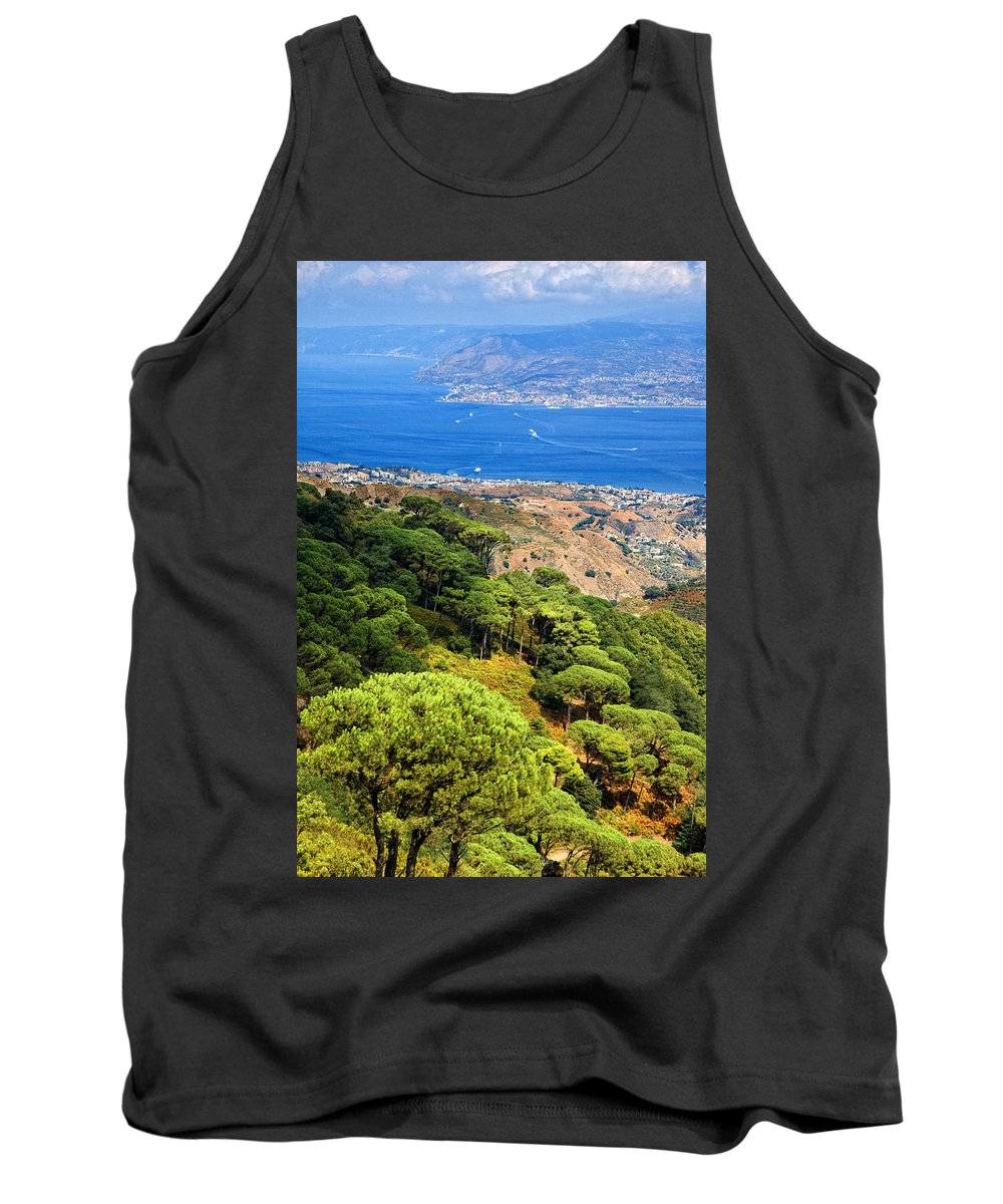 Italy Tank Top featuring the photograph Messina Strait - Italy by Silvia Ganora