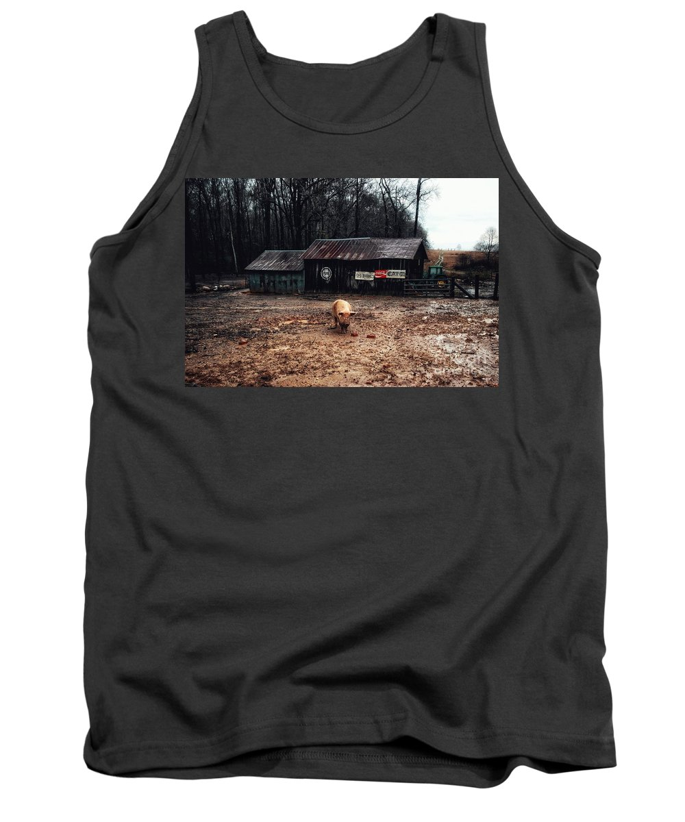 Pig Farm Tank Top featuring the photograph Messy Pig Farm Lot by John Myers