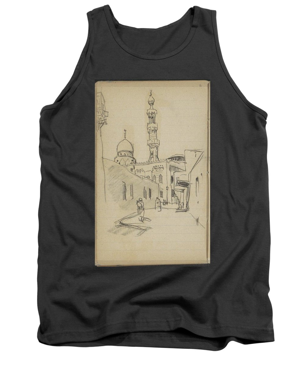 Straat In Caïro Tank Top featuring the painting met uitzicht op de Al-Rifai moskee by MotionAge Designs