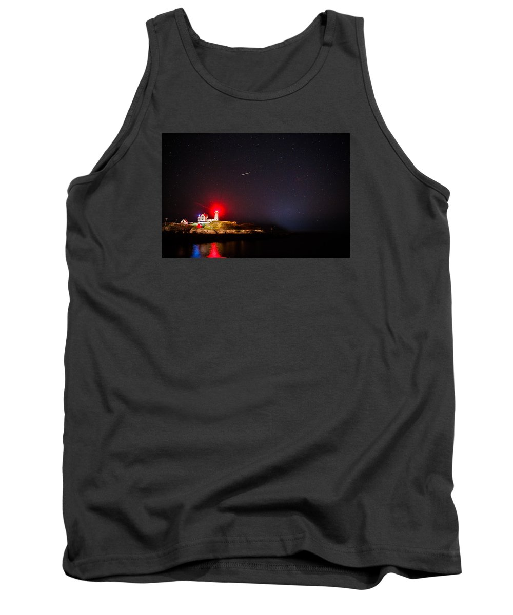 Lighthouse Tank Top featuring the photograph Meteor Over Nubble by John Crookes