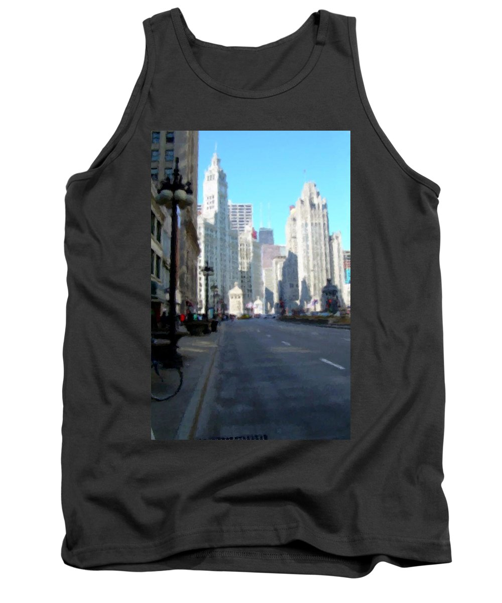 Chicago Tank Top featuring the digital art Michigan Ave Tall by Anita Burgermeister