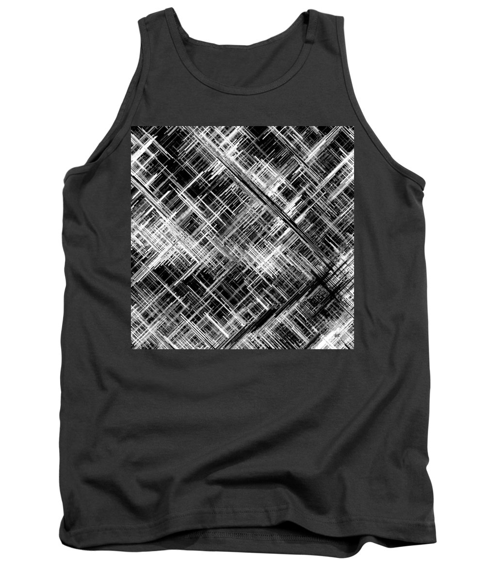 Black And White Tank Top featuring the digital art Micro Linear Black And White by Will Borden