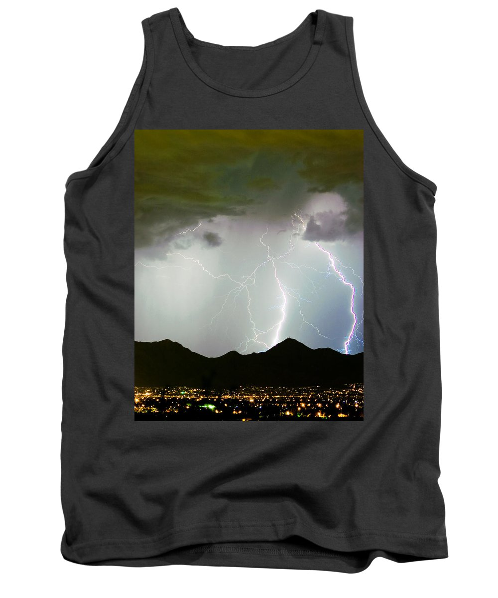Lightning Tank Top featuring the photograph Midnight Hour by James BO Insogna