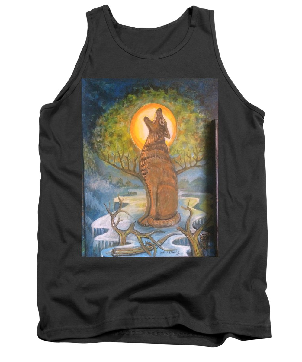 Mountain Majic Wild Life Tank Top featuring the mixed media Midnight Mountain Majic 3 by Walter M Davis