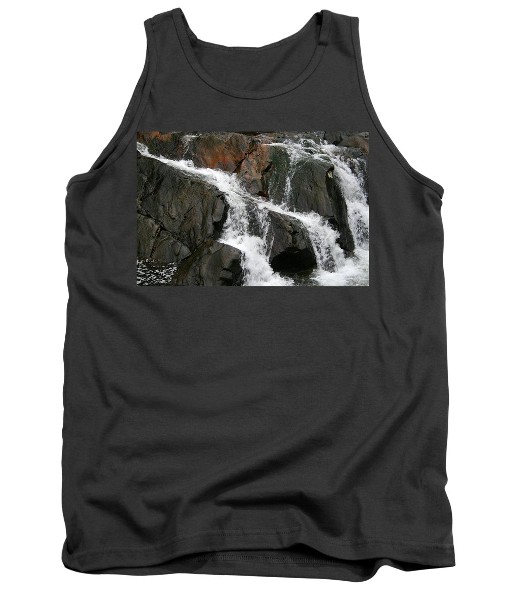 Water Waterfall Rush Rushing Cold River Creek Stream Rock Stone Wave White Wet Tank Top featuring the photograph Might by Andrei Shliakhau
