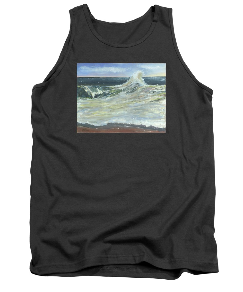 Seascape Tank Top featuring the painting Mighty Nauset Wave by Viola Holmgren