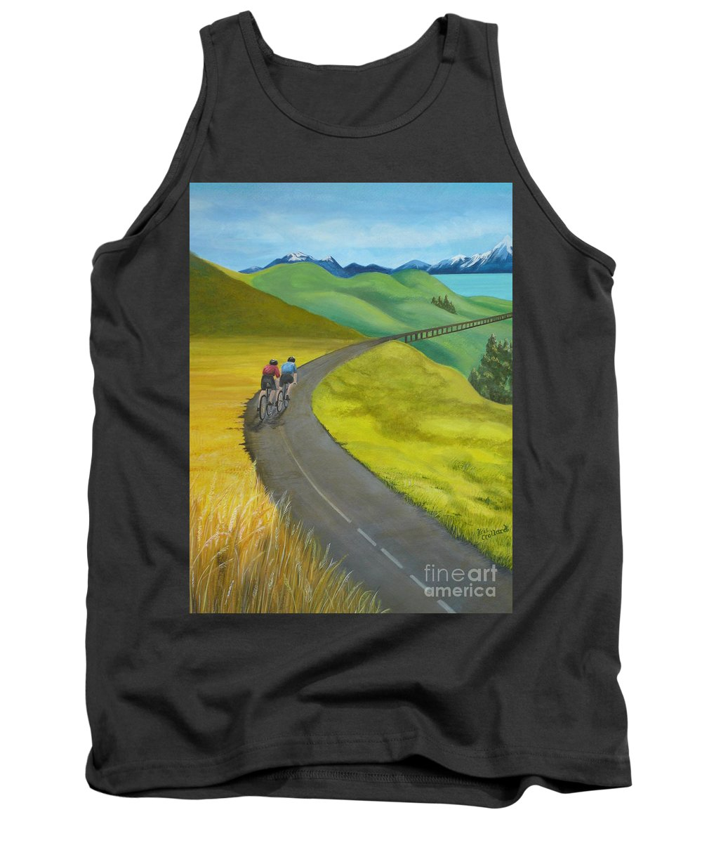 Bicycles Tank Top featuring the painting Miles To Go by Kris Crollard