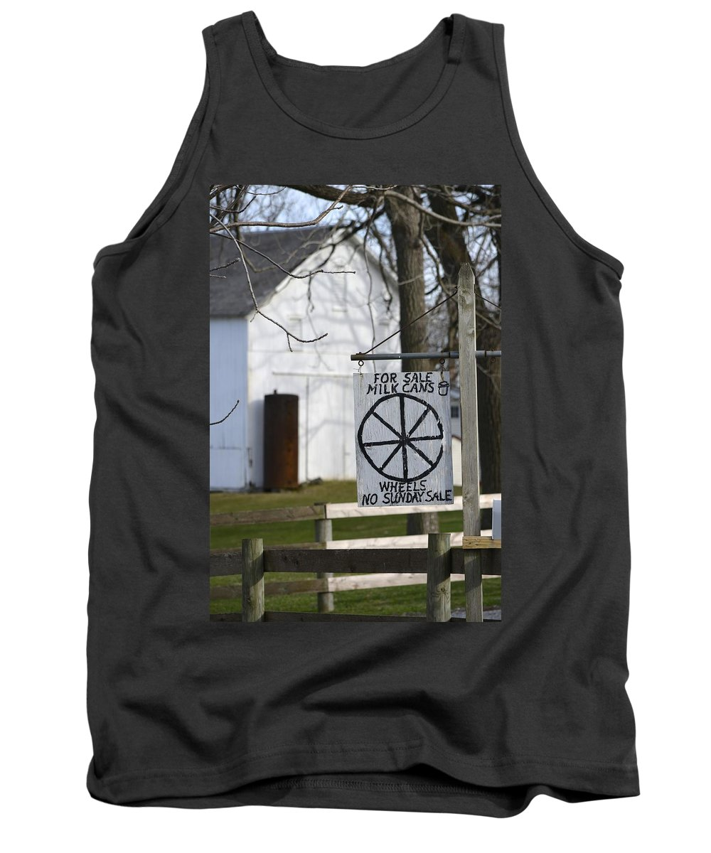 Amish Tank Top featuring the photograph Milk Cans And Buggy Wheels by Tana Reiff