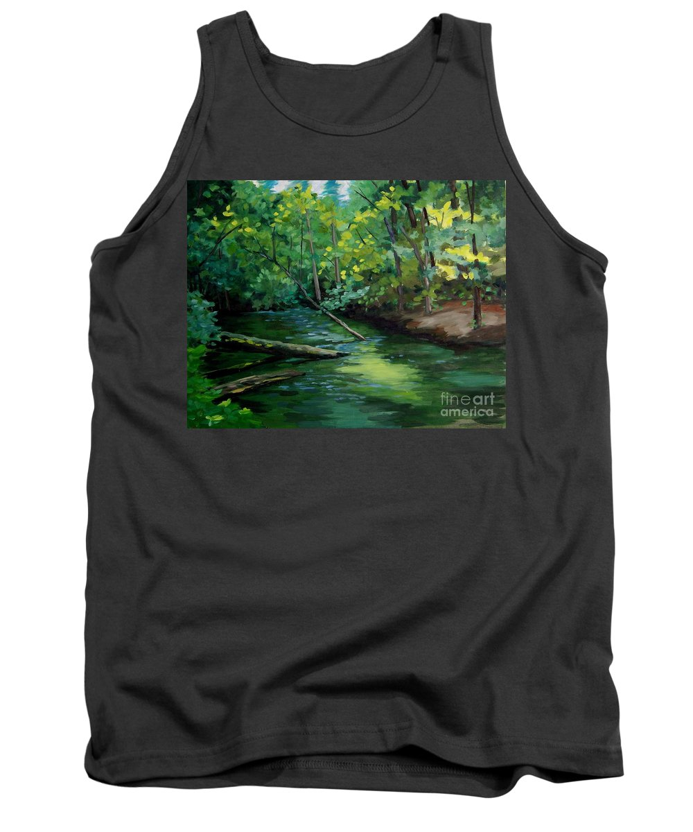 Stream Tank Top featuring the painting Mill Creek by Cynthia Riley