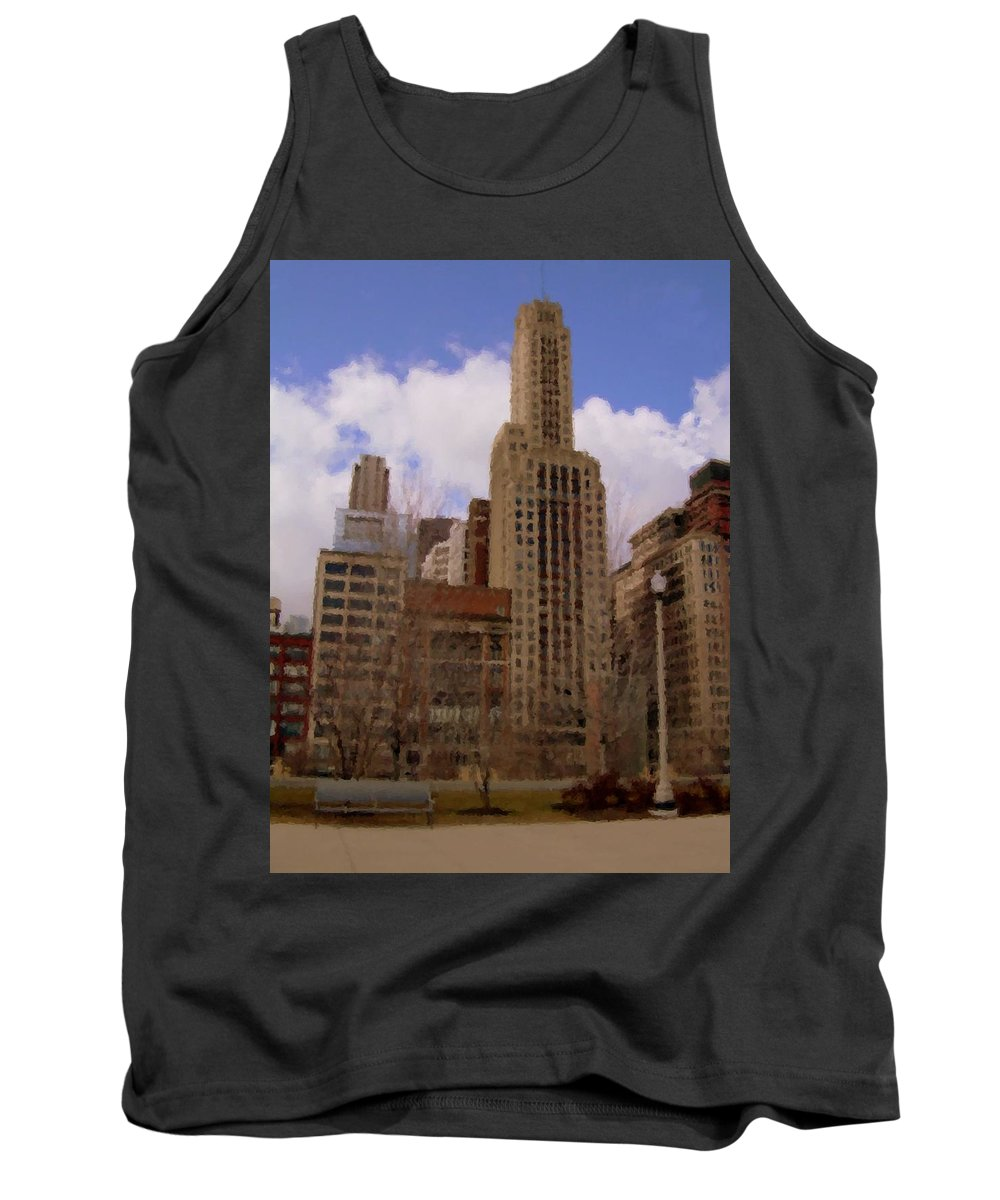 Chicago Tank Top featuring the digital art Millenium Park And Bench 1 by Anita Burgermeister
