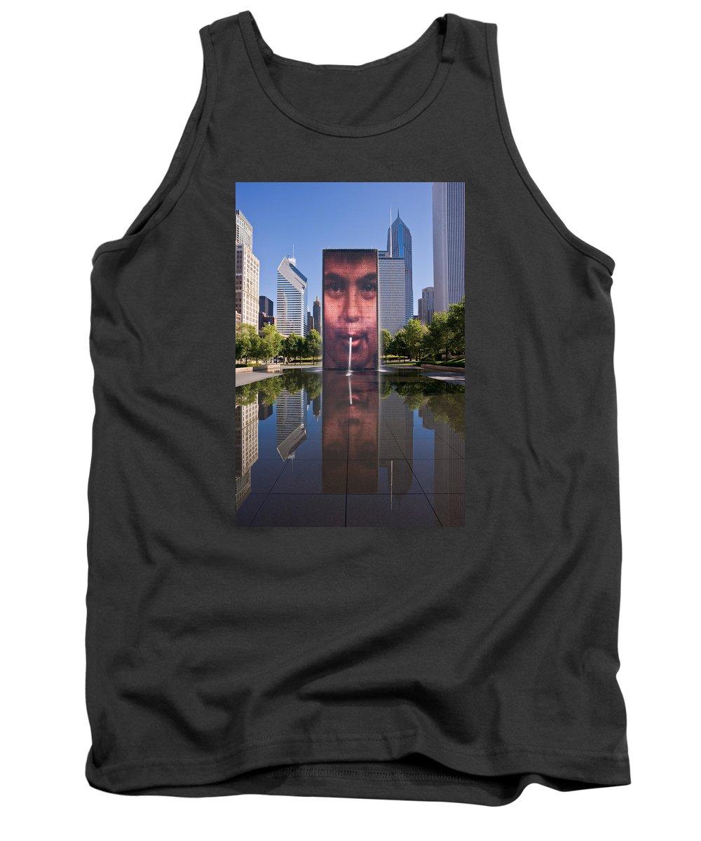 Art Tank Top featuring the photograph Millennium Park Fountain And Chicago Skyline by Steve Gadomski