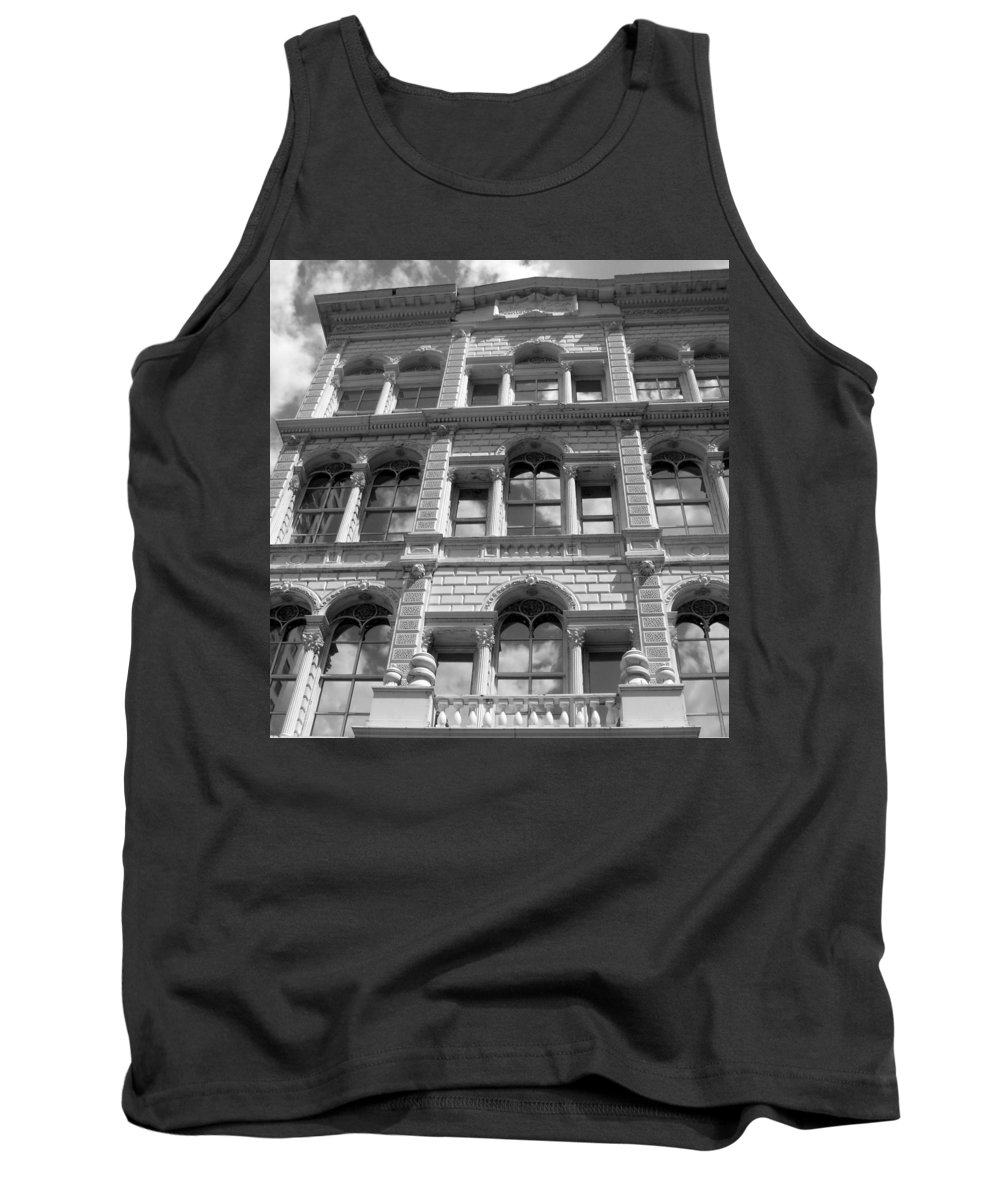 Milwaukee Tank Top featuring the photograph Milwaukee Cloud Reflections Bw by Anita Burgermeister