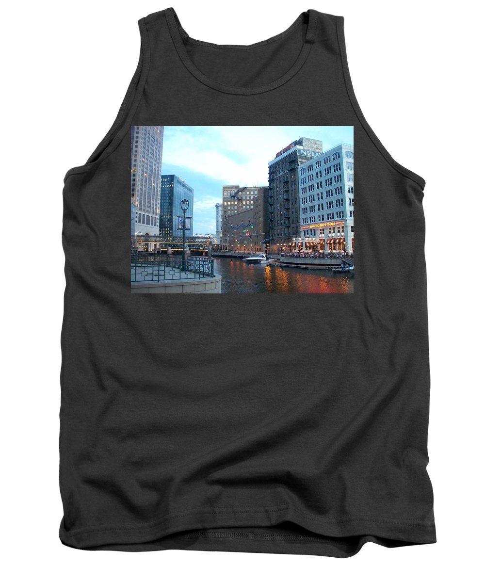 Milwaukee Tank Top featuring the photograph Milwaukee River Walk by Anita Burgermeister