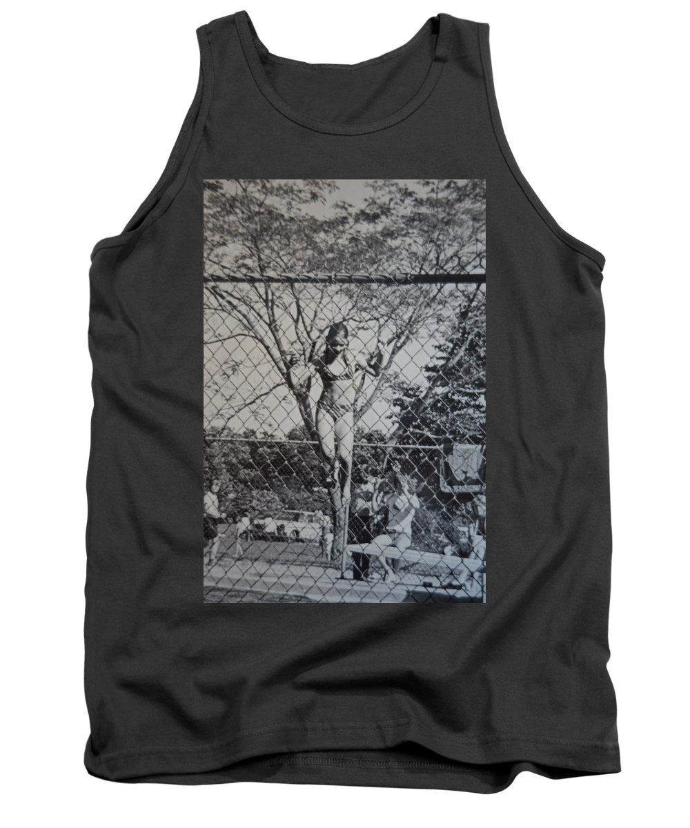 Camp Tank Top featuring the photograph Mimosa Girl Jumps In by Rauno Joks