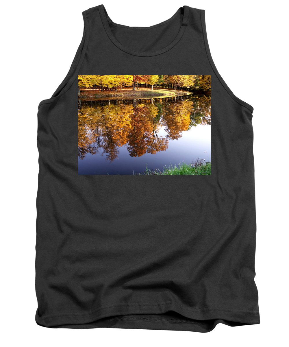 jenny Gandert Lake Gold Mining Water Reflection Sky Blue Yellow Maple Maples Trees Autumn Fall Grass Real Tank Top featuring the photograph Mining For Gold by Jenny Gandert
