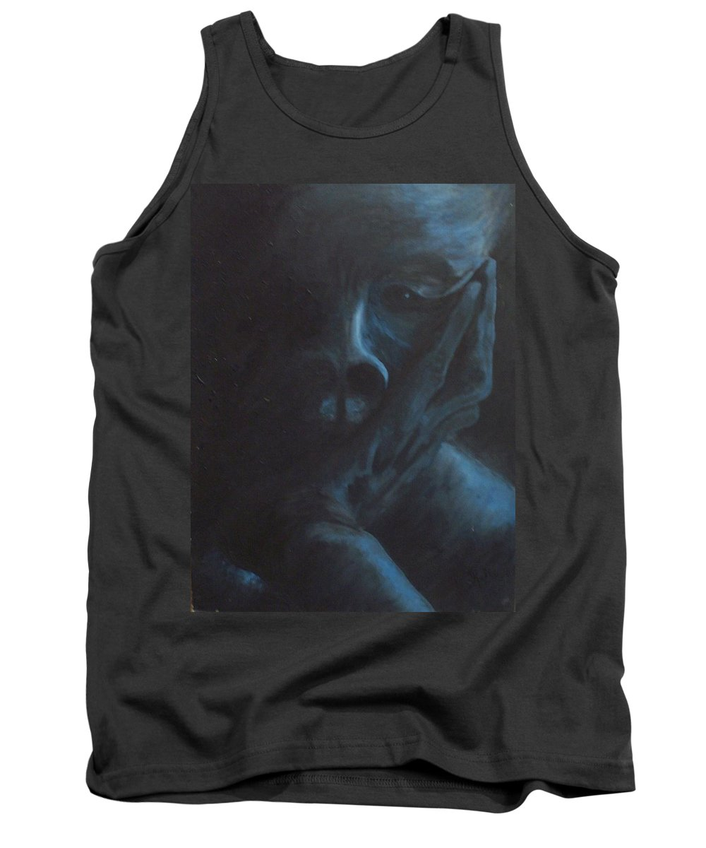 Sad Tank Top featuring the painting Misery by Gale Cochran-Smith