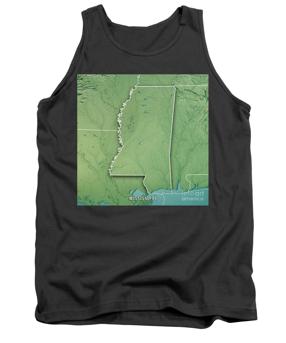 Mississippi Tank Top featuring the digital art Mississippi State Usa 3d Render Topographic Map Border by Frank Ramspott