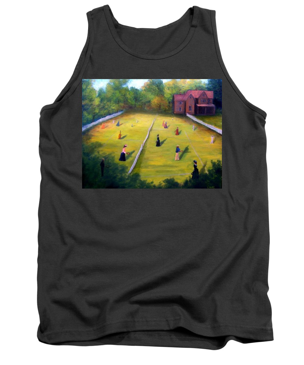 Tennis Art Tank Top featuring the painting Mixed Doubles by Gail Kirtz