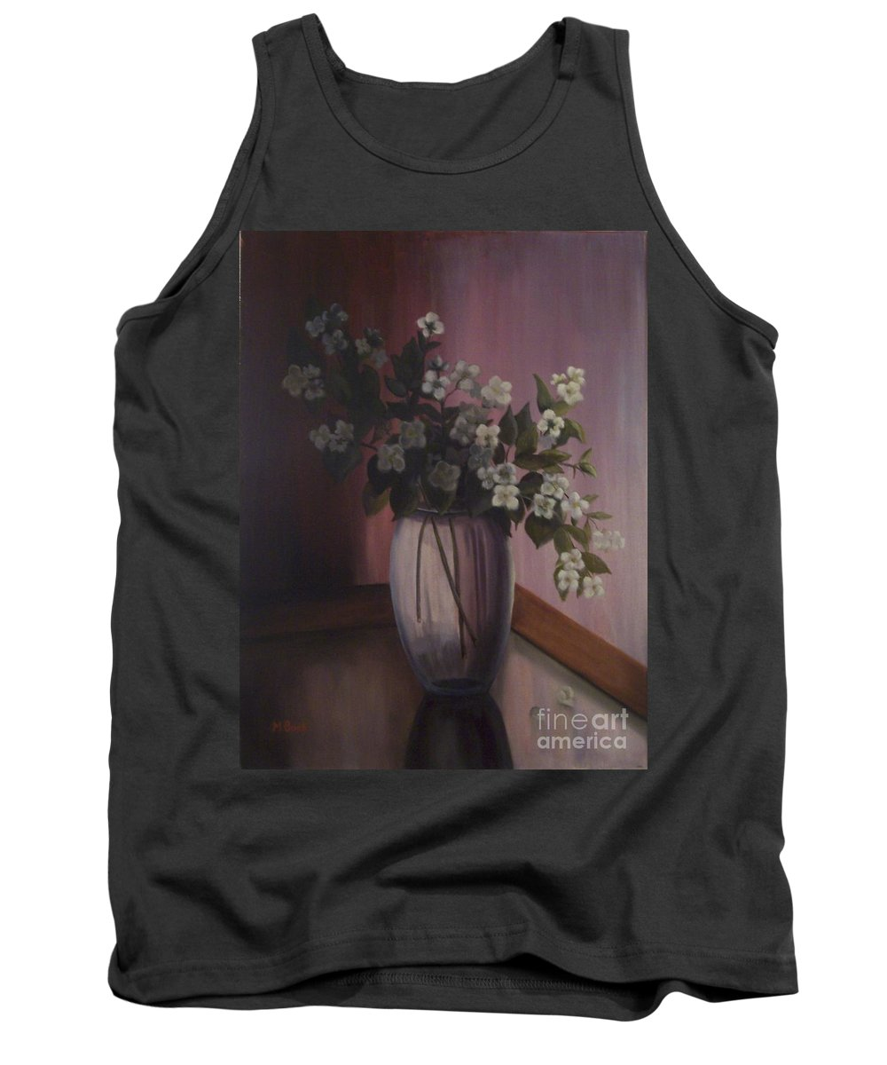 Still Life Tank Top featuring the painting Mock Orange Blossoms by Marlene Book