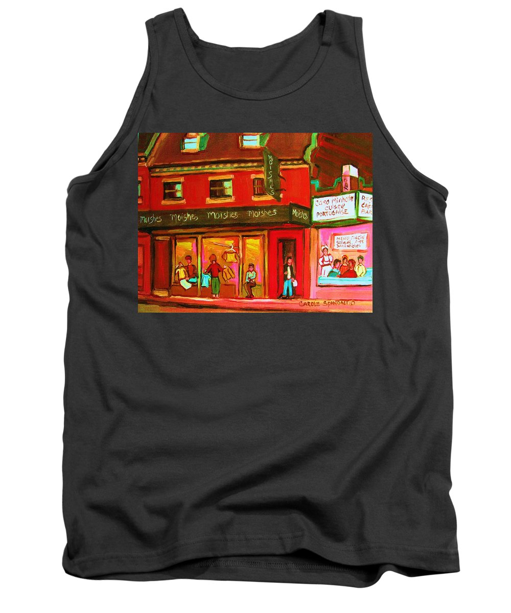 Moishes Tank Top featuring the painting Moishes Steakhouse On The Main by Carole Spandau