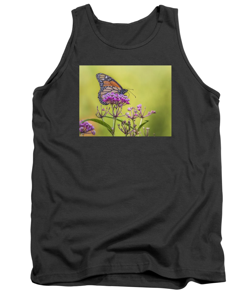 Monarch Tank Top featuring the photograph Monarch On Pink Flower by Sue Matsunaga