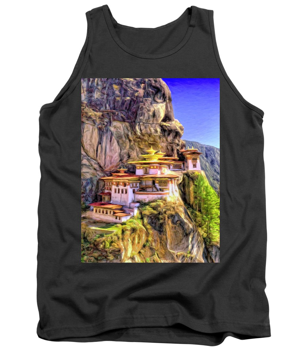 Monastery In Bhutan Tank Top featuring the painting Monastery In Bhutan by Dominic Piperata