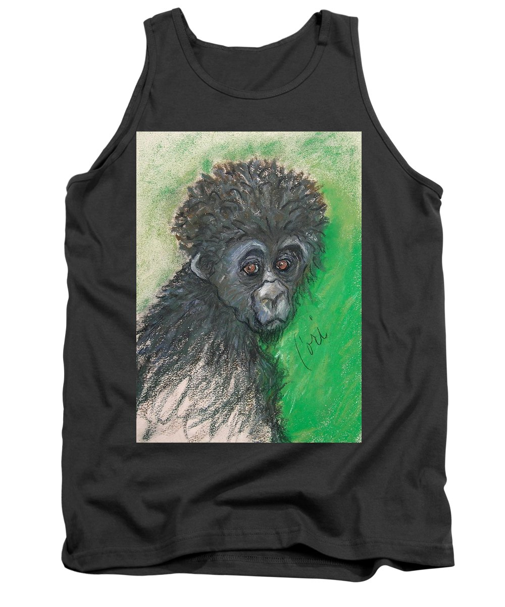 Monkey Tank Top featuring the drawing Monkey Business by Cori Solomon