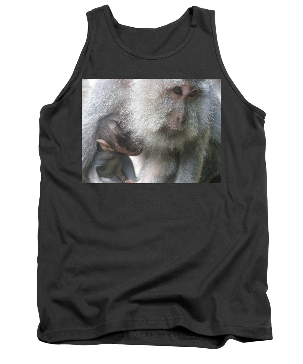 Bali Tank Top featuring the photograph Monkey Mother 3 by Mark Sellers