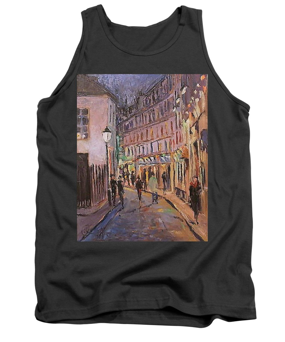 Paris Tank Top featuring the painting Monmartre by Walter Casaravilla