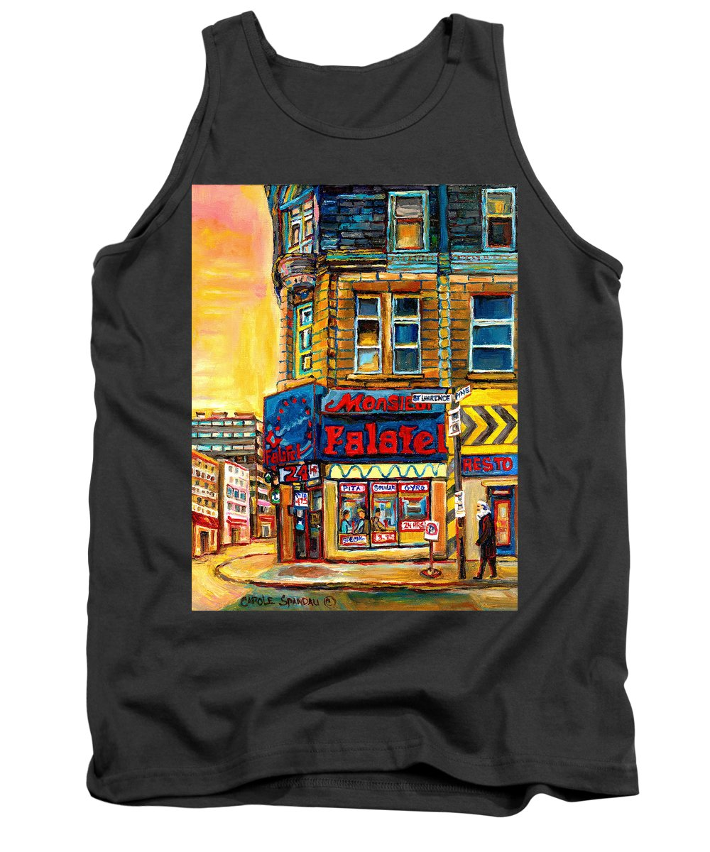 Montreal Tank Top featuring the painting Monsieur Falafel by Carole Spandau