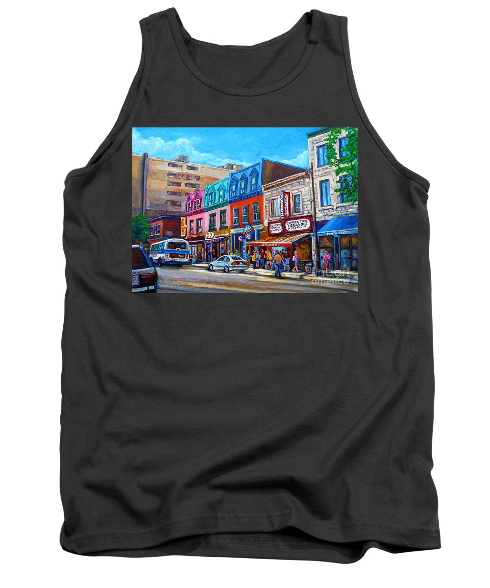 Montreal Smoked Meat Tank Top featuring the painting Montreal Smoked Meat Schwatrzs Deli by Carole Spandau