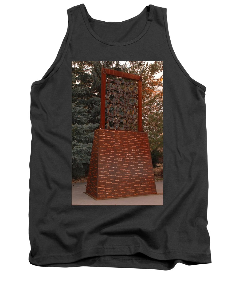 Monument Tank Top featuring the photograph Monument At N M State Captial by Rob Hans