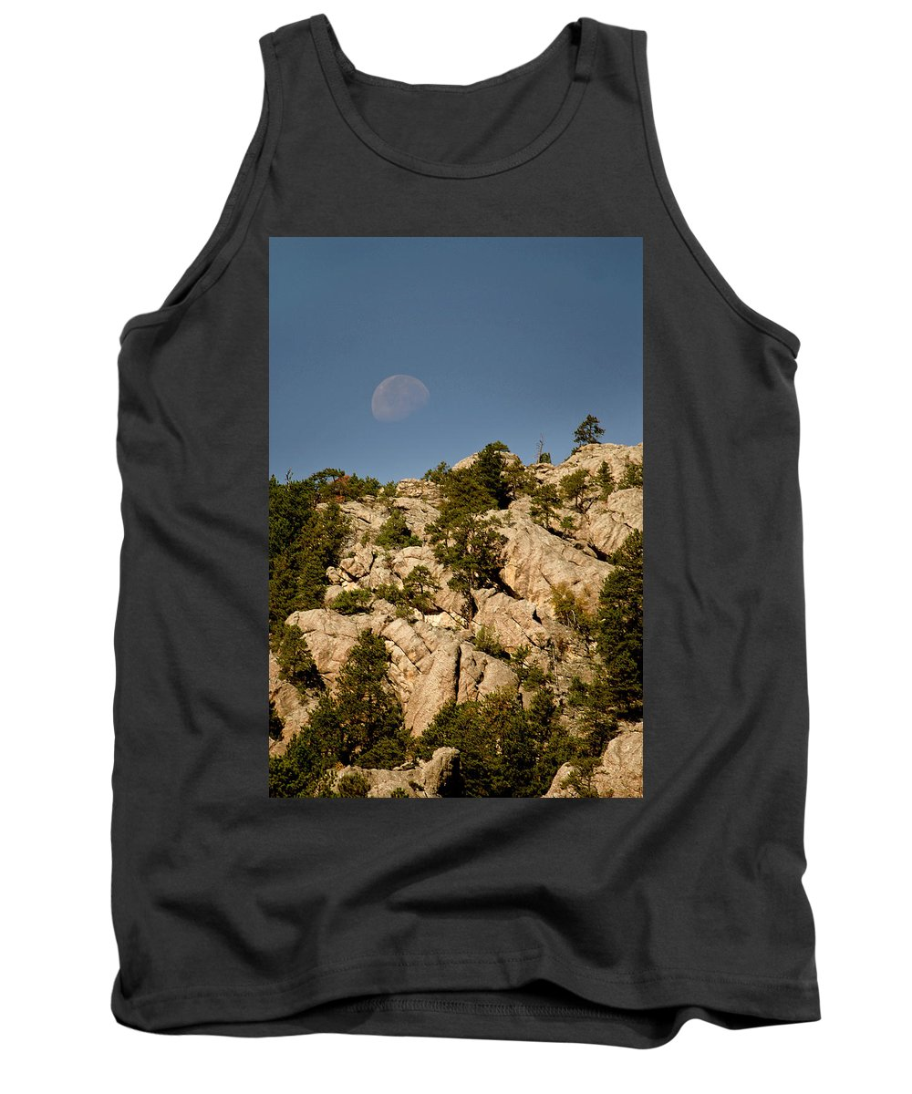 Attraction Tank Top featuring the photograph Moon Over The Hills by Mike Oistad