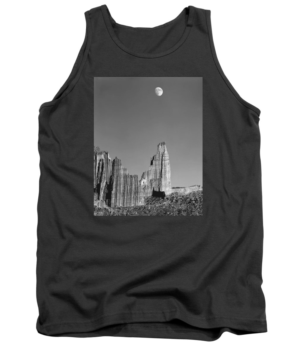Moon Tank Top featuring the photograph 612751-moon Over The Titan by Ed Cooper Photography