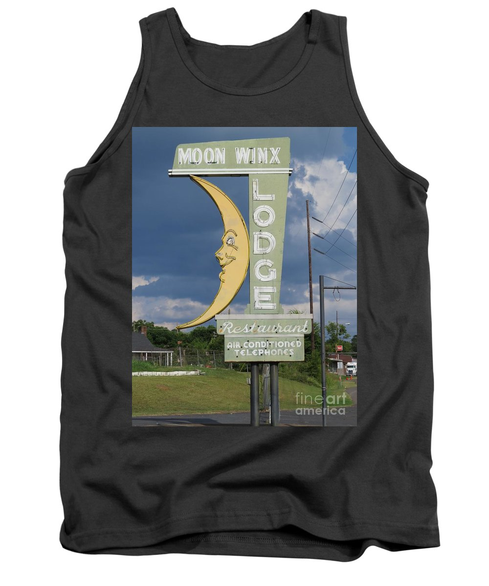 Landmark Signs Tank Top featuring the photograph Moon Winx Lodge Sign by Charles Green